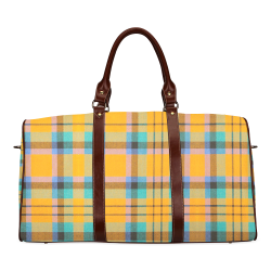 TARTANS YELLOW 32 Waterproof Travel Bag/Small (Model 1639)