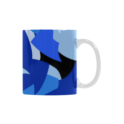 Camouflage Abstract Blue and Black White Mug(11OZ)