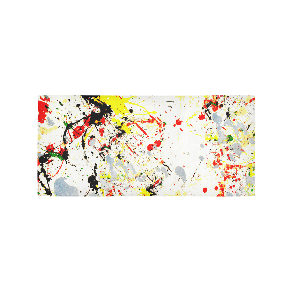 Black, Red, Yellow Paint Splatter Area Rug 7'x3'3''