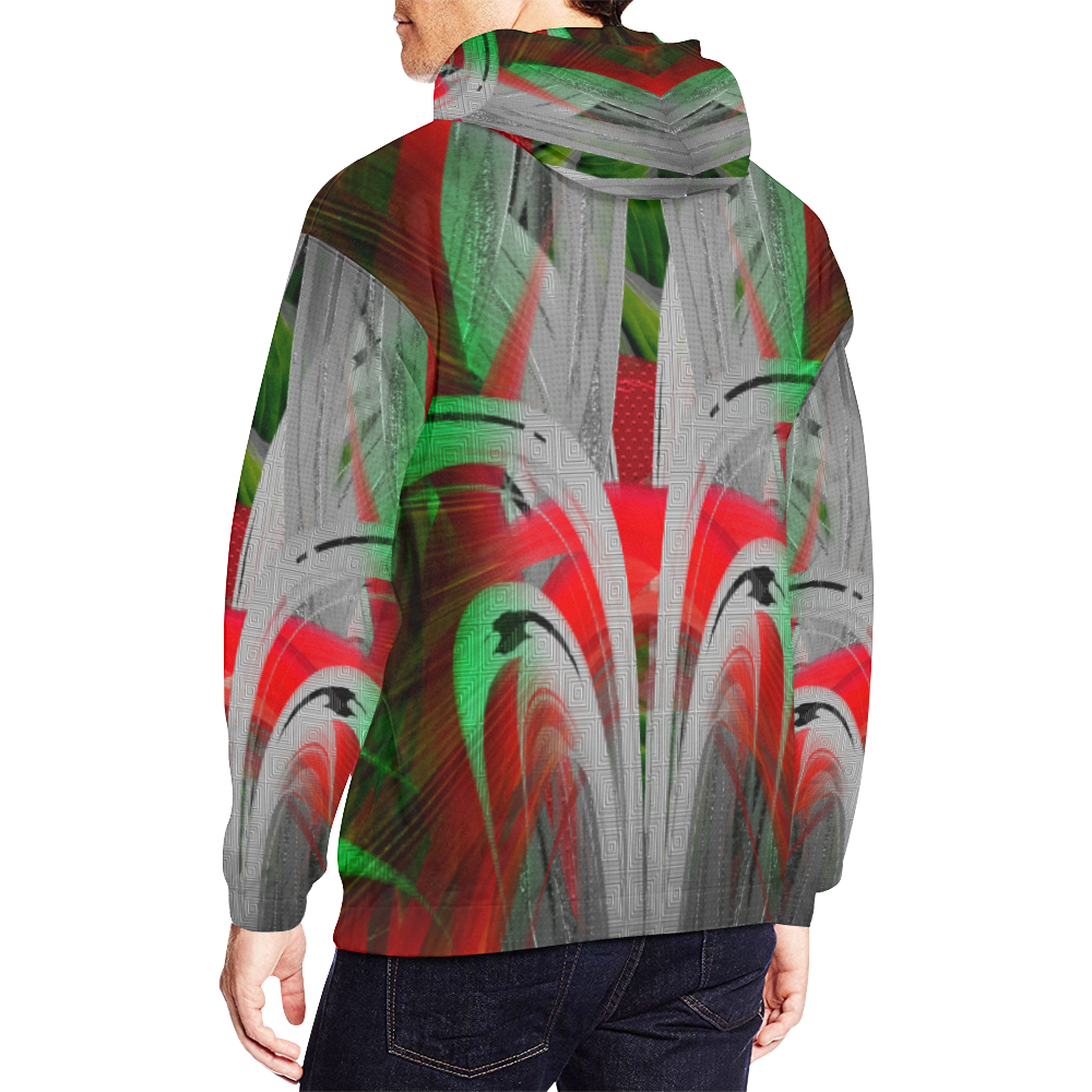 Red Green Deep Crew Unit Wear All Over Print Hoodie (for Men)