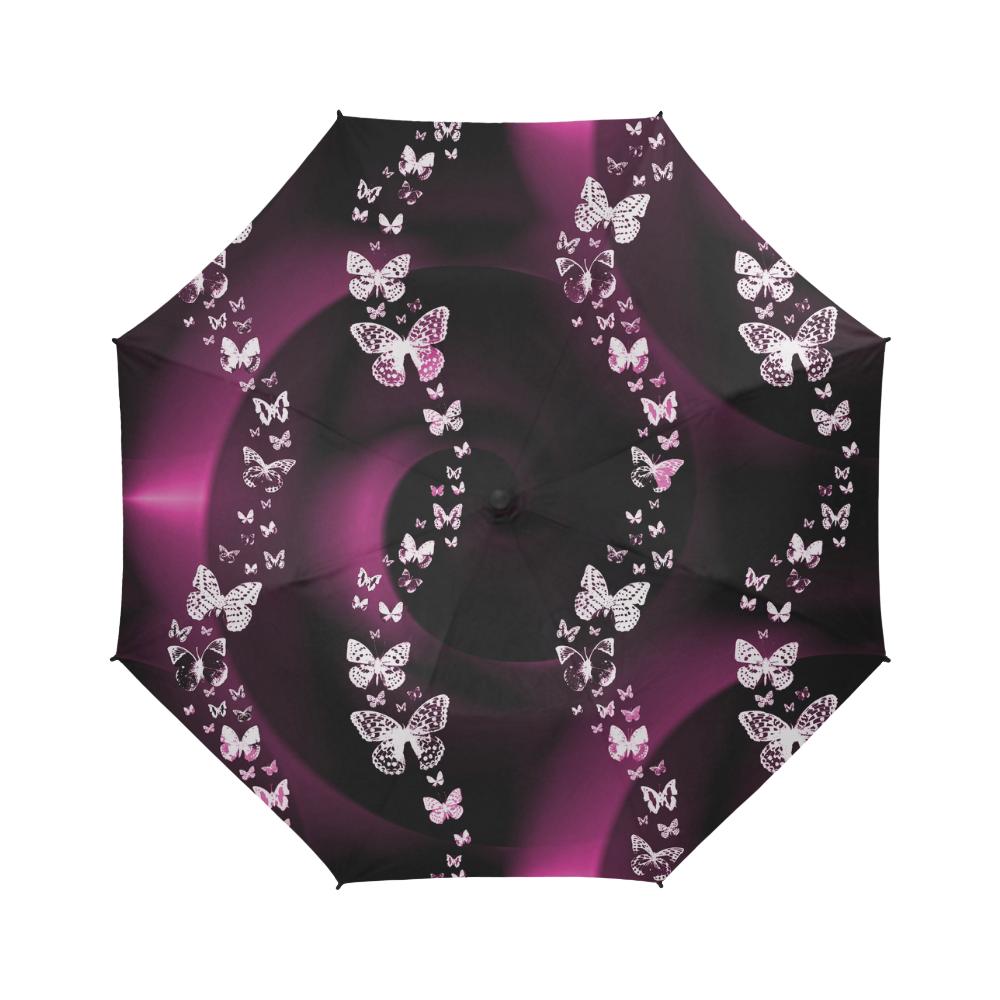 Pink Butterfly Swirls Semi-Automatic Foldable Umbrella (Model U05)