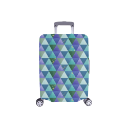 "Triangle Pattern - Blue Violet Teal Green Luggage Cover/Small 18""-21"""