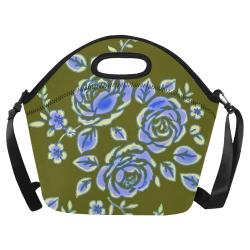 Roses Vintage Blue Green Neoprene Lunch Bag/Large (Model 1669)