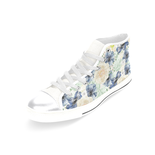Romantic Flowers Shoes, Sweet Floral Women's Classic High Top Canvas Shoes (Model 017)