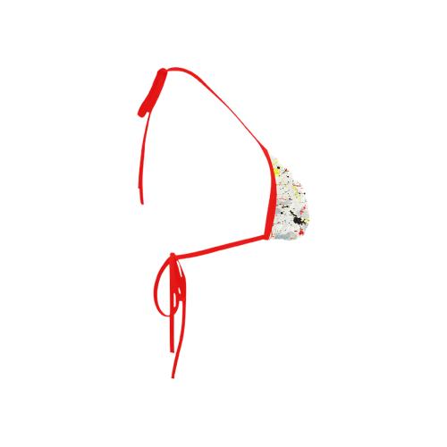 Yellow & Black Paint Splatter (Red Straps) Custom Bikini Swimsuit Top