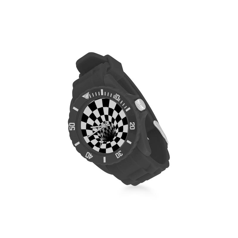 Optical Illusion Checherboard Black Hole (Black/White) Sport Rubber Strap Watch(Model 301)