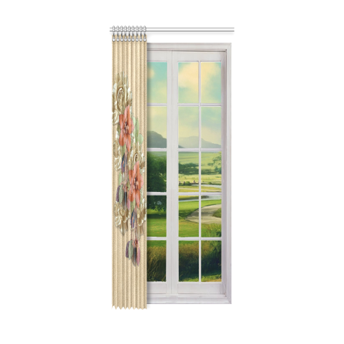 """leather flowers on suede Window Curtain 52"""" x 120""""(One Piece)"""