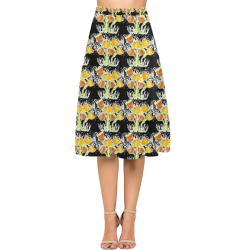 Black Crepe Skirt With Yellow Poppies Aoede Crepe Skirt (Model D16)