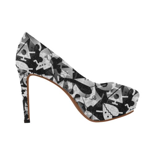 Black and White Pop Art by Nico Bielow Women's High Heels (Model 044)