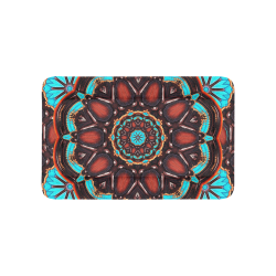 "K172 Wood and Turquoise Abstract Pet Bed 36""x23"""