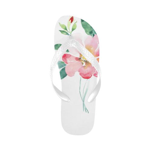 watercolor rose Flip Flops for Men/Women (Model 040)