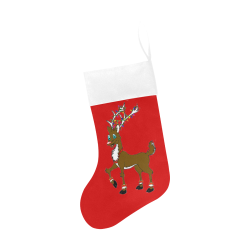 Rudy Reindeer With Lights Red/White Christmas Stocking