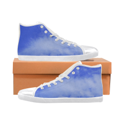 Blue Clouds white Men's High Top Canvas Shoes (Model 002)