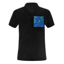Abstract Blue Floral Design 2020 Men's Polo Shirt (Model T24)