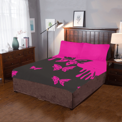 Animals Nature - Splashes Tattoos with Butterflies 3-Piece Bedding Set