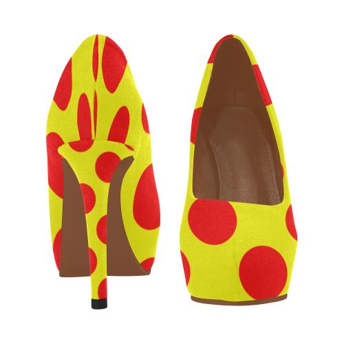 Gold polka dots Women's High Heels (Model 044)