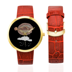 The Cloud Fish Surreal Women's Golden Leather Strap Watch(Model 212)
