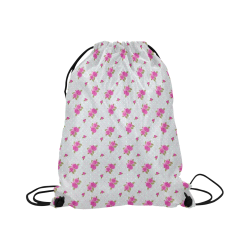 "Roses and Pattern 1B by JamColors Large Drawstring Bag Model 1604 (Twin Sides)  16.5""(W) * 19.3""(H)"