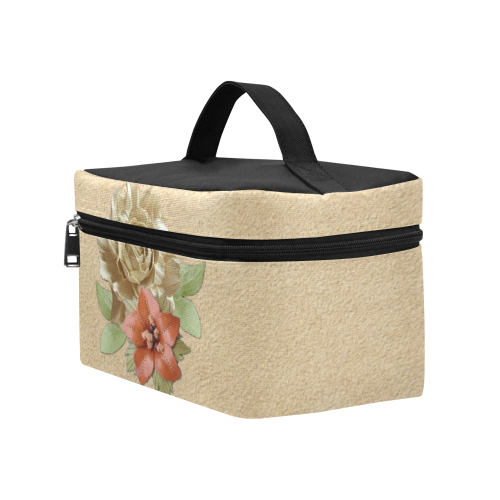 Flowers on Suede leather Cosmetic Bag/Large (Model 1658)