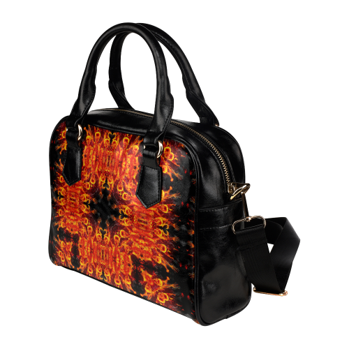Awesome Luciferian Hell Flower Design Darkstar Shoulder Handbag (Model 1634)