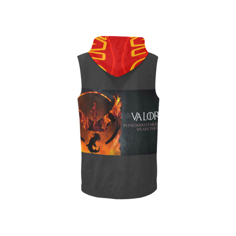 Valor 88 All Over Print Sleeveless Zip Up Hoodie for Women (Model H16)