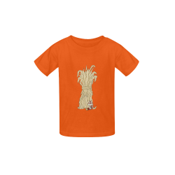 Autumn Chipmunk And Haystack Orange Kid's  Classic T-shirt (Model T22)