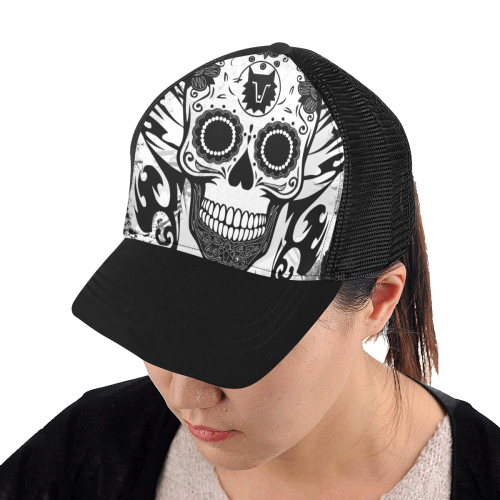 SKULL TRIBAL ABSTRACT BASECAP Trucker Hat H (Front Panel Customization)