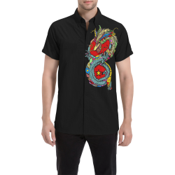 Popart Dragon by Nico Bielow Men's All Over Print Short Sleeve Shirt (Model T53)