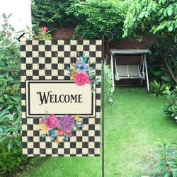 Classic Plaid and Flowers Garden Flag Garden Flag 12''x18''(Without Flagpole)