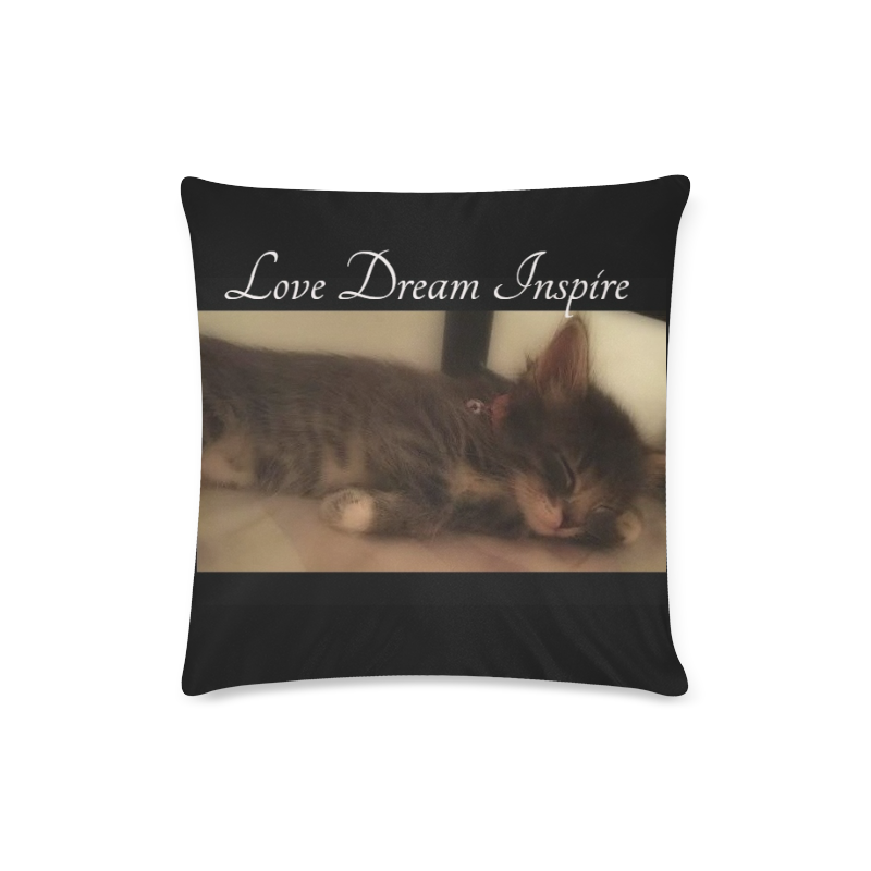 "Sleeping Cat #LoveDreamInspireCo Custom Zippered Pillow Case 16""x16""(Twin Sides)"