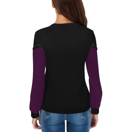 Rose Bud Glass Flower Spiral Women's Fringe Detail Sweatshirt (Model H28)