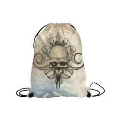 "Creepy skull, vintage background Medium Drawstring Bag Model 1604 (Twin Sides) 13.8""(W) * 18.1""(H)"