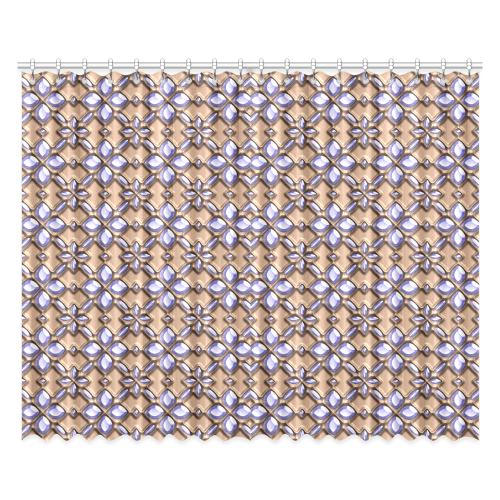 """Blue glass pattern in brown background. Window Curtain 52""""x84""""(Two Pieces)"""