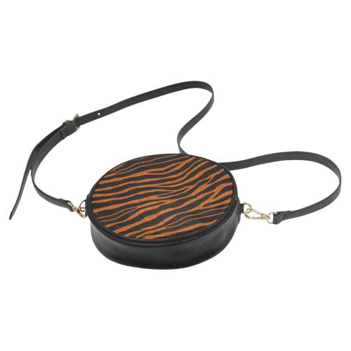 Ripped SpaceTime Stripes - Orange Round Sling Bag (Model 1647)