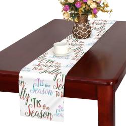 Christmas 'Tis The Season Pattern on White Table Runner 16x72 inch