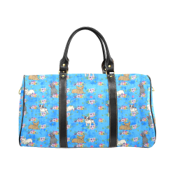 Frenchies in Flowers New Waterproof Travel Bag/Large (Model 1639)