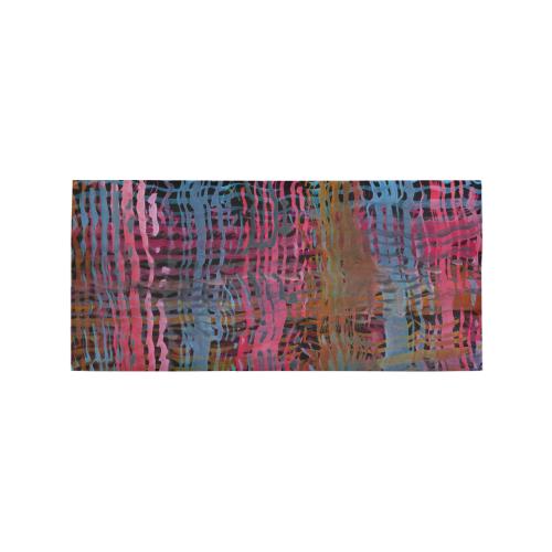 Watercolor Texture Dark Red Area Rug 7'x3'3''