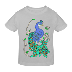Pretty Peacock Mint Grey Sunny Youth T-shirt (Model T04)