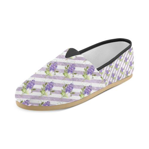Lavender Flowers, Floral Stripes Unisex Casual Shoes (Model 004)