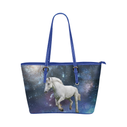 Unicorn and Space Leather Tote Bag/Large (Model 1651)