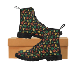 Cannabis Pattern Martin Boots for Women (Black) (Model 1203H)