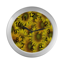 Surreal Sunflowers Silver Color Wall Clock