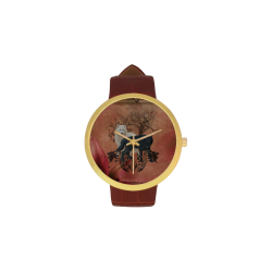 Awesome black and white wolf Women's Golden Leather Strap Watch(Model 212)