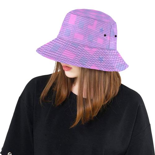 PINK GEOMETRY LADYLIKE All Over Print Bucket Hat