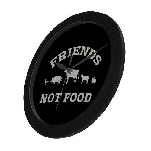 Friends Not Food (Go Vegan) Circular Plastic Wall clock