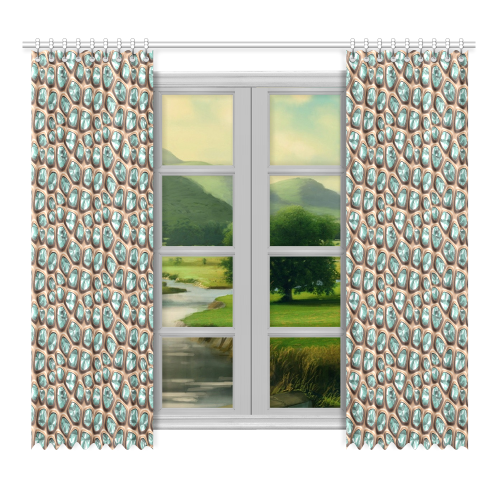 """Green crystals Window Curtain 52""""x96""""(Two Piece)"""