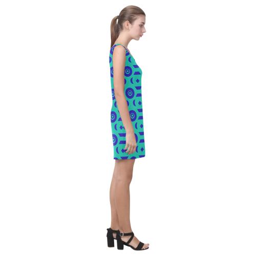 Blue Geometric Shapes in Turquoise Medea Vest Dress (Model D06)