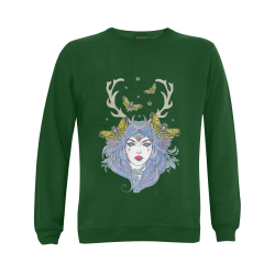 Goddess Sun Moon Earth Green Gildan Crewneck Sweatshirt(NEW) (Model H01)