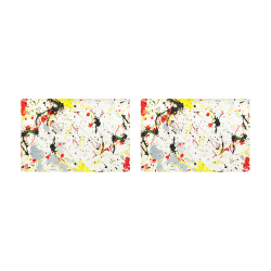 Yellow & Black Paint Splatter Placemat 12'' x 18'' (Two Pieces)