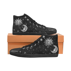 Mystic  Moon and Sun High Top Canvas Kid's Shoes (Model 002)